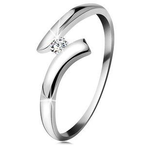 Inel din aur alb 14K - diamant transparent strălucitor, brațe lucioase curbate - Marime inel: 49 imagine
