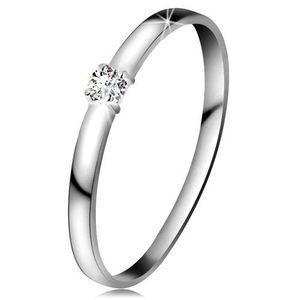 Inel din aur alb 14K - diamant transparent, brațe lucioase - Marime inel: 49 imagine