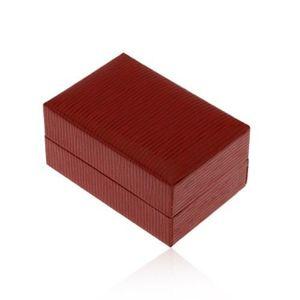 Cutiuță de cadou pentru inel sau cercei, culoare roșu-închis, suprafață canelată imagine