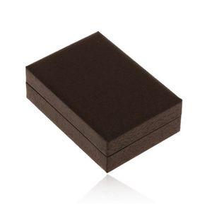 Cutiuță de cadou pentru cercei, imitație de lemn maro-închis, caneluri fine negre imagine