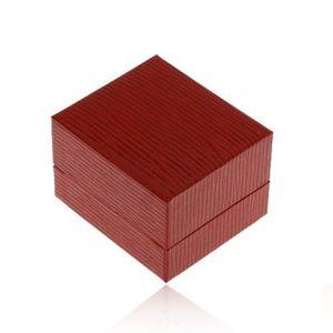 Cutiuță de cadou pentru cercei, suprafața din imitație de piele de culoare roșu-închis, caneluri imagine