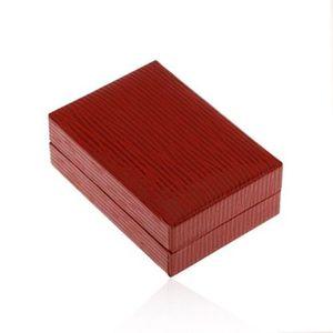 Cutiuță pentru cercei, din piele artificială de culoare roșu-închis, suprafață lucioasă canelată imagine