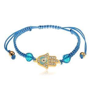 Brățară împletită din șnur de culoare albastră, mâna lui Fatima, zirconii transparente, mărgele imagine