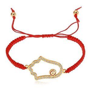 Brățară împletită din șnur de culoare roșie, mâna lui Fatima, zirconii transparente imagine