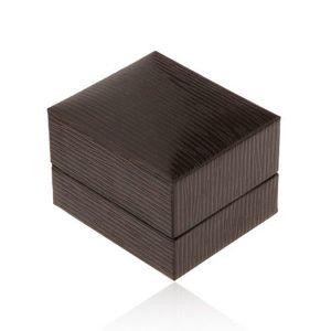 Cutiuță de cadou pentru cercei, imitație de piele maro-închis cu caneluri imagine