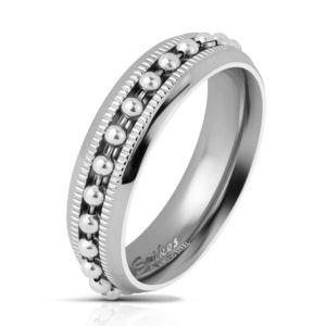 Inel din oțel de culoare argintie, cu bile si crestături, 6 mm - Marime inel: 49 imagine