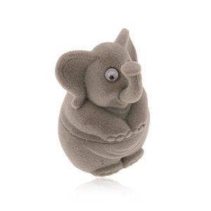 Bijuterii eshop - Cutie cadou pentru inel sau cercei - catifea, elefant gri Y02.03 imagine