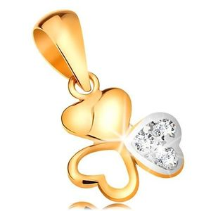 Pandantiv bicolor din aur 585 - trifoi lucios compus din trei inimi imagine