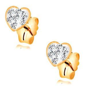 Cercei cu surub realizati din aur galben de 14K - inima decorata cu cristale Swarovski imagine
