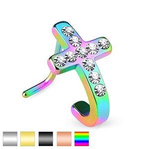Piercing din oțel pentru nas , cruce cu zirconii transparente - Culoare Piercing: Argintiu imagine