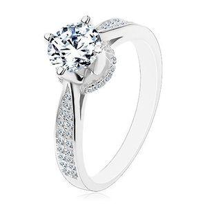 Inel din argint 925, zirconiu rotund strălucitor, brațe și montură decorative - Marime inel: 48 imagine