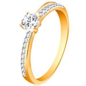Inel din aur 585 cu linie diagonală strălucitoare și zirconiu transparent în montură - Marime inel: 48 imagine
