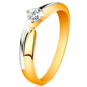 Inel din aur de 14K - braţe bicolore, zirconiu transparent - Marime inel: 49 imagine