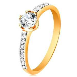 Inel de logodnă din aur de 14K - zirconiu transparent, braţe cu zirconii - Marime inel: 48 imagine