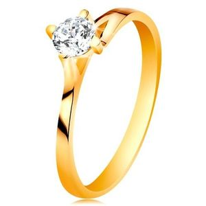Inel de logodnă din aur galben de 14K - zirconiu transparent în montură proeminentă - Marime inel: 49 imagine