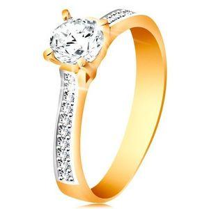 Inel din aur 14K - zirconiu rotund și transparent, brațe cu zirconii - Marime inel: 48 imagine