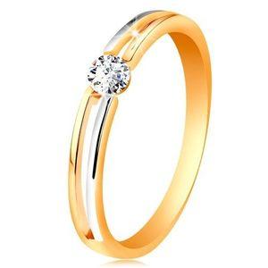 Inel din aur 585, brațe subțiri bicolore cu decupaj și zirconiu transparent - Marime inel: 49 imagine
