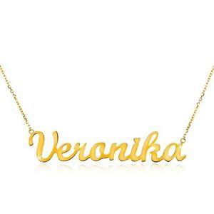 Colier din aur galben de 14K - lanț subțire, pandantiv cu numele Veronika imagine