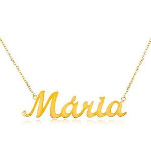 Colier din aur 585 - lanț subțire compus din zale ovale, pandantiv cu numele Maria imagine