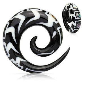 Expander spiralat pentru ureche din material organic, cu model și fragmete de scoică - Lățime: 10 mm imagine