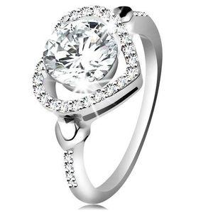 Inel din argint 925, zirconiu mare şi transparent în contur de inimă strălucitoare - Marime inel: 49 imagine