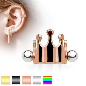 Piercing pentru ureche, din oţel, coroană regală cu bile, diferite culori - Culoare Piercing: Argintiu imagine