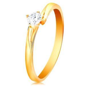 Inel din aur galben de 14K- zirconiu transparent şi strălucitor, în montură lucioasă - Marime inel: 49 imagine