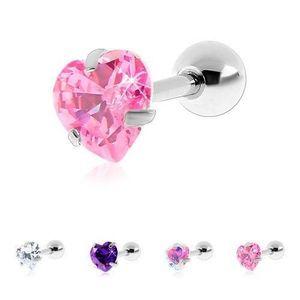 Piercing din oțel chirurgical pentru tragus, inimă din zirconiu - Bilă: 3 mm, Culoare zirconiu piercing: Transparent - C imagine