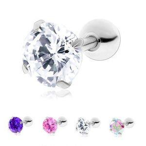 Piercing din oțel, pentru tragus, zirconiu rotund, strălucitor - Bilă: 3 mm, Culoare zirconiu piercing: Transparent - C imagine