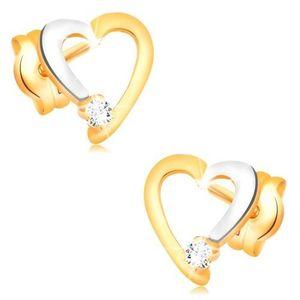 Cercei cu diamante, din aur de 14K - contur inimă cu diamant transparent imagine