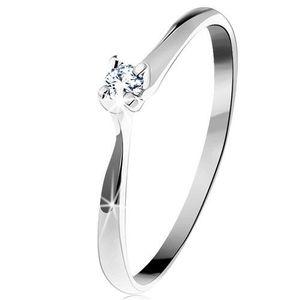 Inel din aur alb 585 - zirconiu strălucitor și transparent într-o montură în patru puncte - Marime inel: 49 imagine