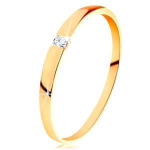 Inel din aur de 14K - zirconiu transparent, braţe netede, proeminente - Marime inel: 49 imagine