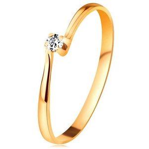 Inel de logodnă din aur galben de 14K - zirconiu în montură - Marime inel: 48 imagine