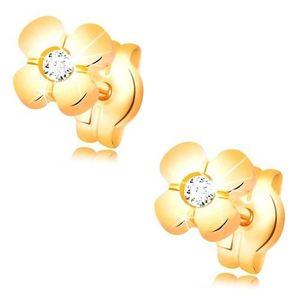 Cercei din aur 585 - floare lucioasă cu un diamant transparent în mijloc imagine