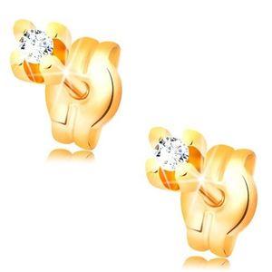 Cercei din aur galben 14K - zirconiu rotund, transparent, 1, 5 mm imagine