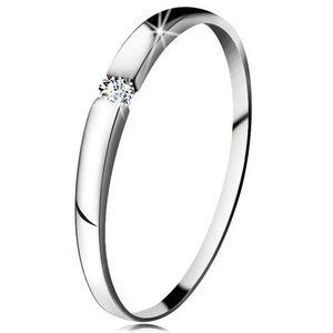Inel de logodnă din aur alb 14K - zirconiu transparent, brațe ușor proeminente - Marime inel: 47 imagine