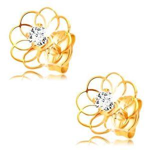 Cercei cu diamant din aur galben de 14K - contur de floare cu diamant imagine