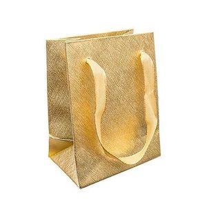 Bijuterii eshop - Pungă de cadou, suprafață structurată, aurie, panglici GY56 imagine