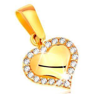 Pandantiv din aur galben 585 - inimă conturată cu zirconii transparente imagine