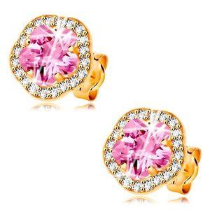 Cercei din aur galben 14K - floare cu zirconii roz si transparente imagine
