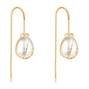 Cercei din aur galben 585 - linii subțiri în jurul unei perle ovale, lanț imagine