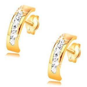 Cercei din aur galben de 14K - arc decorat cu linie de zirconii transparente imagine