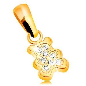 Pandantiv din aur galben 585 - urs mic decorat cu zirconii transparente imagine