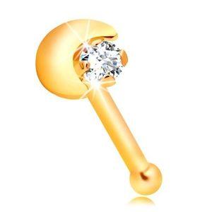 Piercing de nas din aur galben 14K, semilună, zirconiu transparent imagine