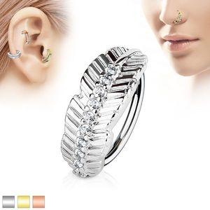 Piercing captiv din oțel inoxidabil, frunză îngustă și linie din zirconii transparente - Grosime x diametru: 0, 8 mm x 8 mm, Culoare Piercing: Argintiu imagine