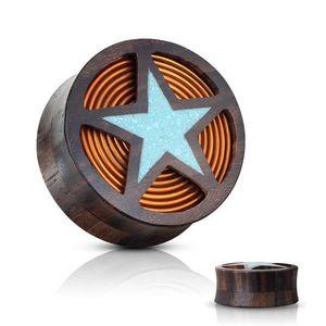 Plug pentru ureche șa din lemn Sono de culoare negru-maroniu, stea albastră, bobină - Lățime: 10 mm imagine