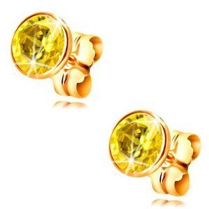 Cercei din aur galben 14K - zirconiu galben rotund în montură, 5 mm imagine