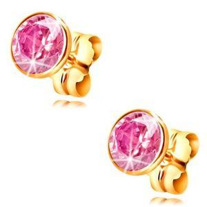 Cercei din aur galben 14K - zirconiu roz deschis rotund în montură, 5 mm imagine