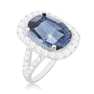 Inel din argint 925, zirconiu mare de culoare albastră și margine transparentă - Marime inel: 49 imagine