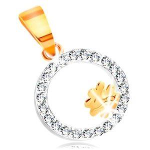 Pandantiv din aur 14K în două culori - trifoi cu patru foi în bandă cu zirconii transparente imagine